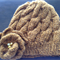Cable Knitted Beanie with Knitted Flower